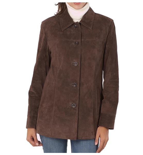 Brown leather jacket BGSD Women's Anna Suede Leather Car Coat Brown Small