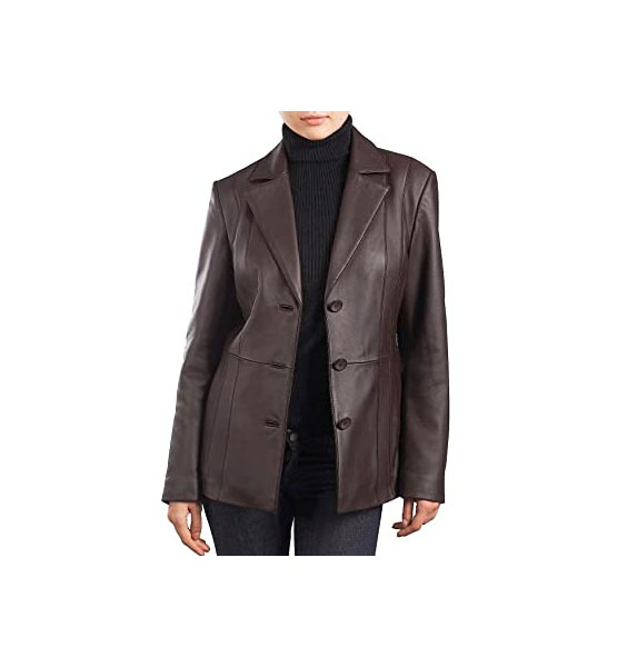 Brown leather jacket BGSD Women's Crystal New Zealand Lambskin Leather Blazer Brown X-Large