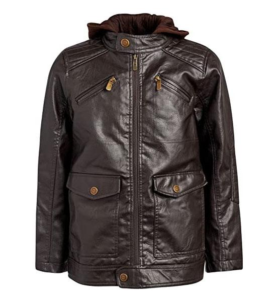 Brown leather jacket Urban Republic Boys Faux Leather Jacket with Fleece Hoodie (5/6, Brown w/Brown Hood) shop mart store best amazon product online shopping website