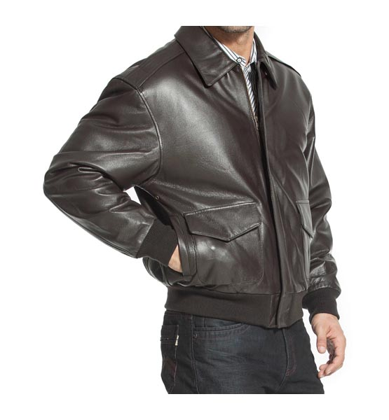 Brown leather jacket Landing Leathers Men's Air Force A-2 Goatskin Leather Flight Bomber Jacket (Regular Big & Tall)