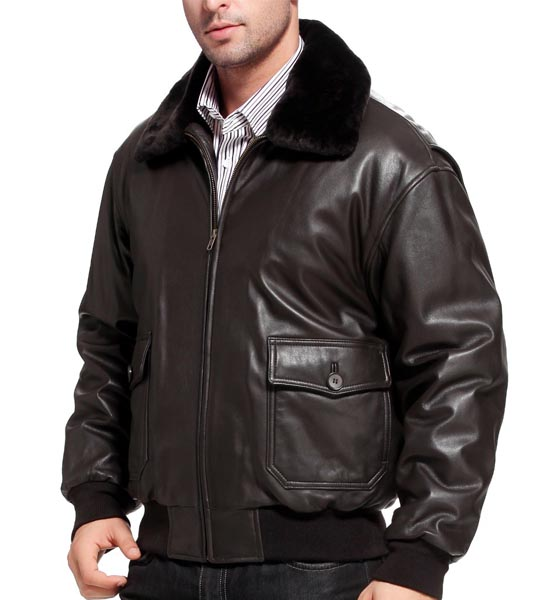 brown leather jacket Landing Leathers Men's Navy G-1 Goatskin Leather Flight Bomber Jacket (Regular Big & Tall)