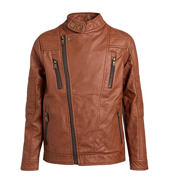 Brown leather jacket Urban Republic Big Boys' Faux Leather Asymmetrical Zipper Moto Jacket (18/20, Cognac)'