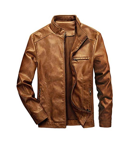 Brown leather jacket WULFUL Men's Stand Collar Leather Jacket Motorcycle Lightweight Faux Leather Outwear Brown-L shop mart store online shopping amazon best selling product website